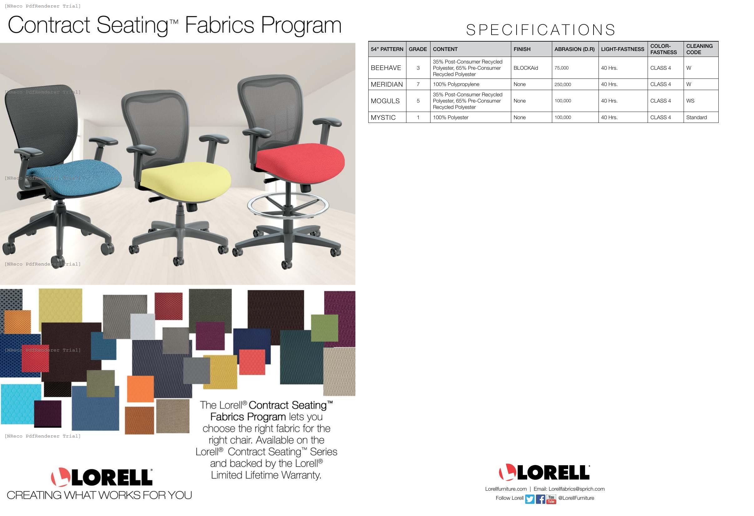 Lorell Contract Seating Fabric Card