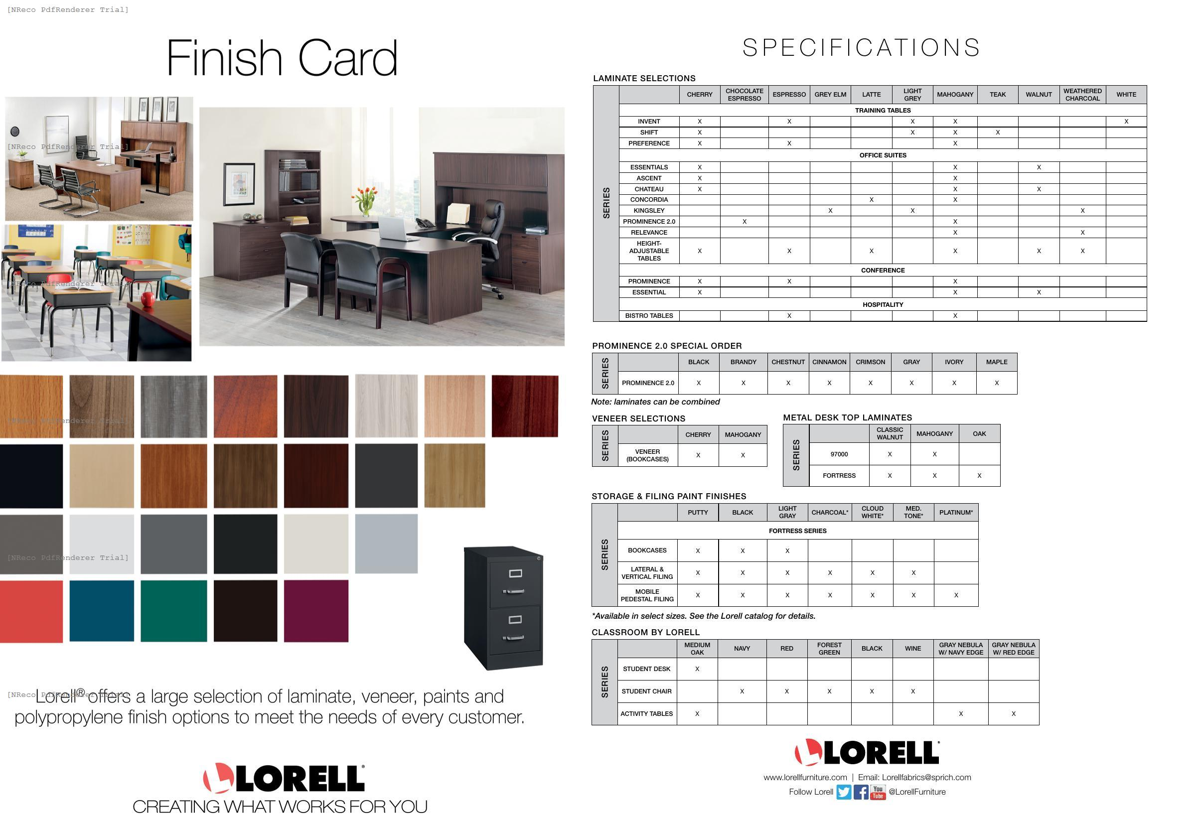 Lorell Finish Card