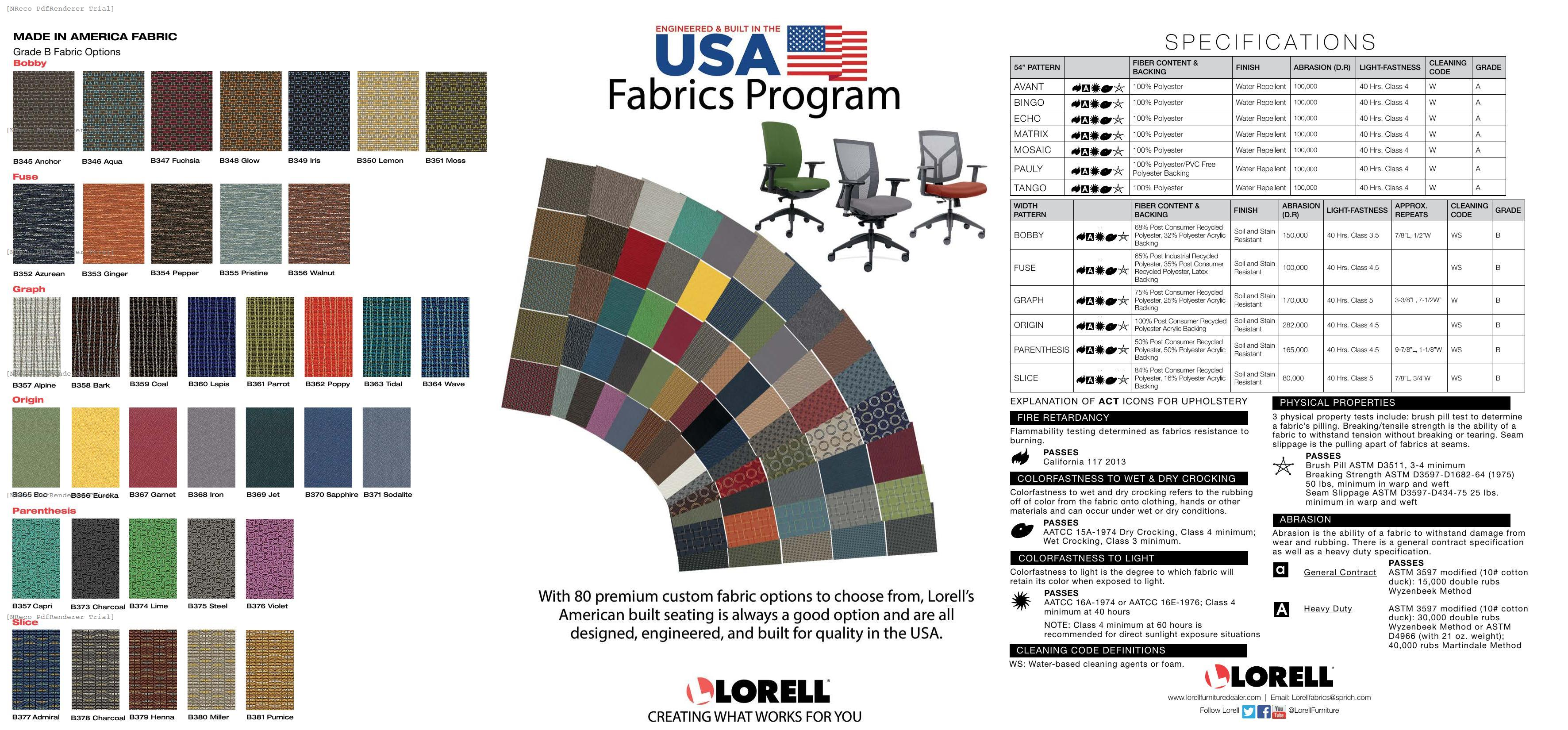 Lorell USA Seating Fabric Card