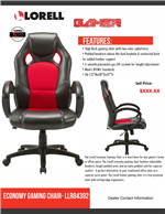 Lorell Economy Gaming Chair Sell Sheet